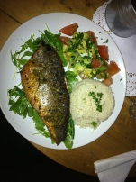 Pan-fried sea bass, new potatoes, green beans, rocket salad and avocado salsa - 9.00