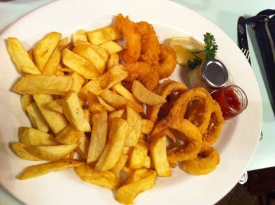 Requested: chips, scampi and calamari
